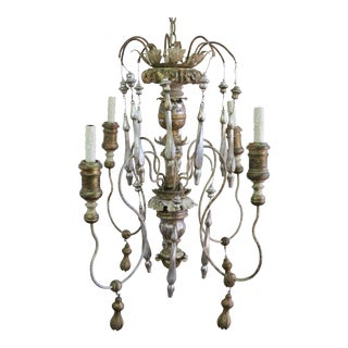 Wood Tasseled Gilt Chandelier