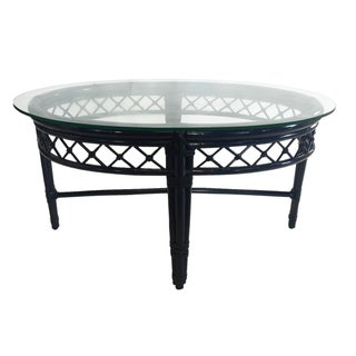 Ficks Reed Trellis Navy Rattan Coffee Table
