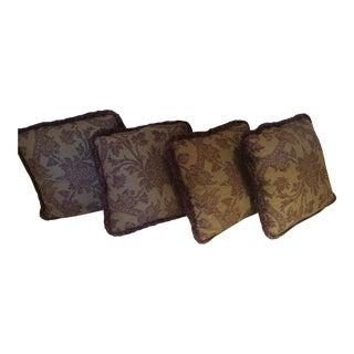 Burgundy & Mustard Damask Pillows - Set of 2