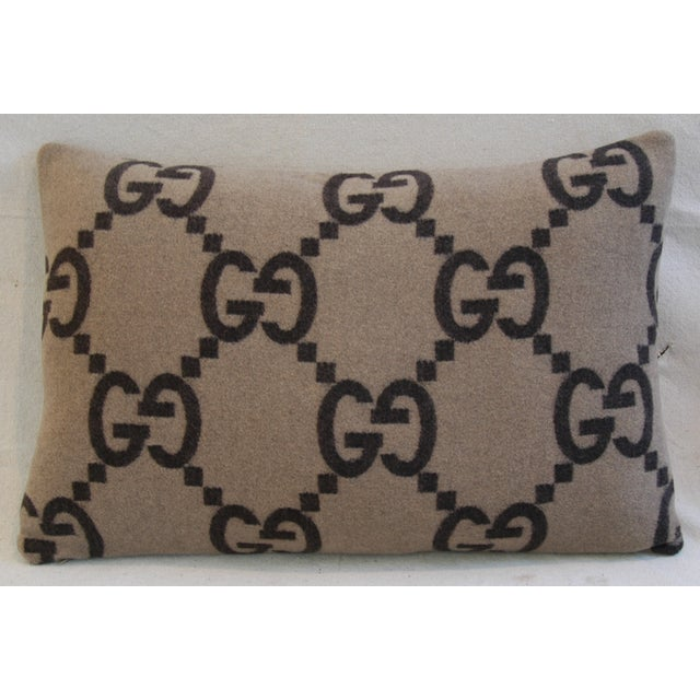 """23"""" X 16"""" Custom Tailored Gucci Cashmere & Velvet Feather/Down Pillows - Pair - Image 10 of 11"""