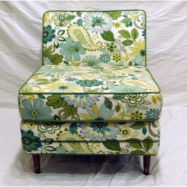 Mid Century Boho Chic Floral Slipper Chair Chairish