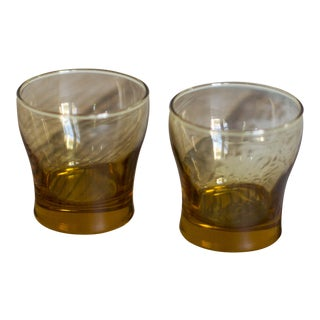 Vintage Libby Amber Tumbler Glasses - A Pair