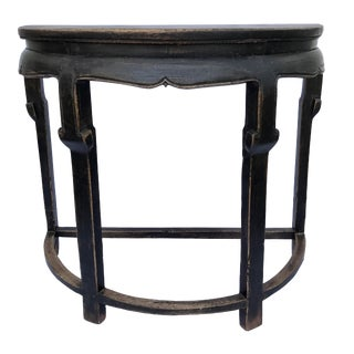 Black Chinese Demilune Console Table
