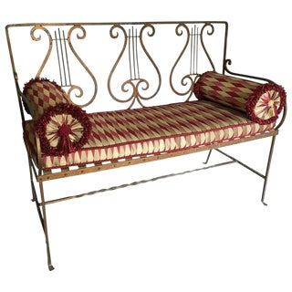 Lyre Motif Gilt Iron Loveseat