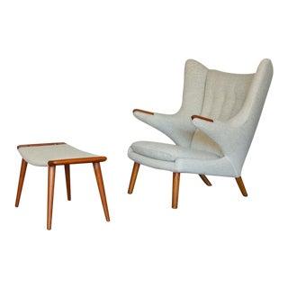 Hans J. Wegner AP19 Papa Bear Chair and Ottoman