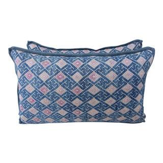 Pink, Blue and Natural Hmong Pillows - A Pair