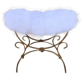French Gold & Fur Rococo Stool