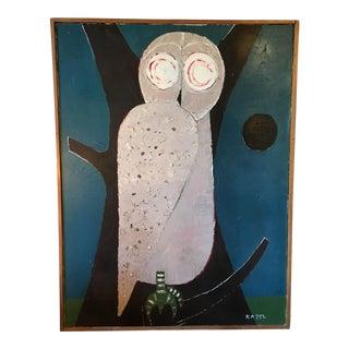 Vintage Owl Oil on Canvas