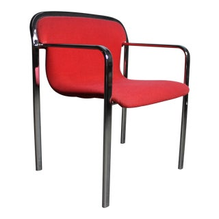 Mid Century Red Accent Chair Attributed to Knoll