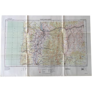 WWII Era U.S. Army War Map - 1939 Portland Sheet
