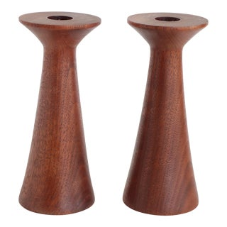 Mid-Century Turned Walnut Wood Candlesticks - A Pair