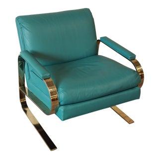 Dansen Milo Baughman Style Leather & Chrome Cantilever Club Chair
