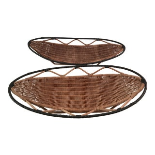 Vintage Bamboo Tray Baskets - A Pair