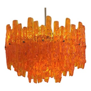 Orange Acrylic Icicle Chandelier in the Manner of Kalmar