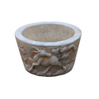 Chinese Off White Gray Marble Stone Carved Round Carved Pot Planter