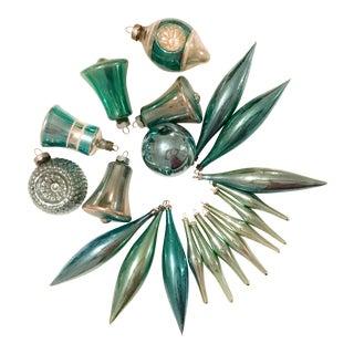 Vintage Turquoise Blue Ornaments - Set of 20