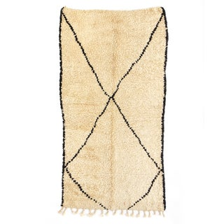 "Vintage Beni Ourain Moroccan Rug - 4'6"" x 8'9"""