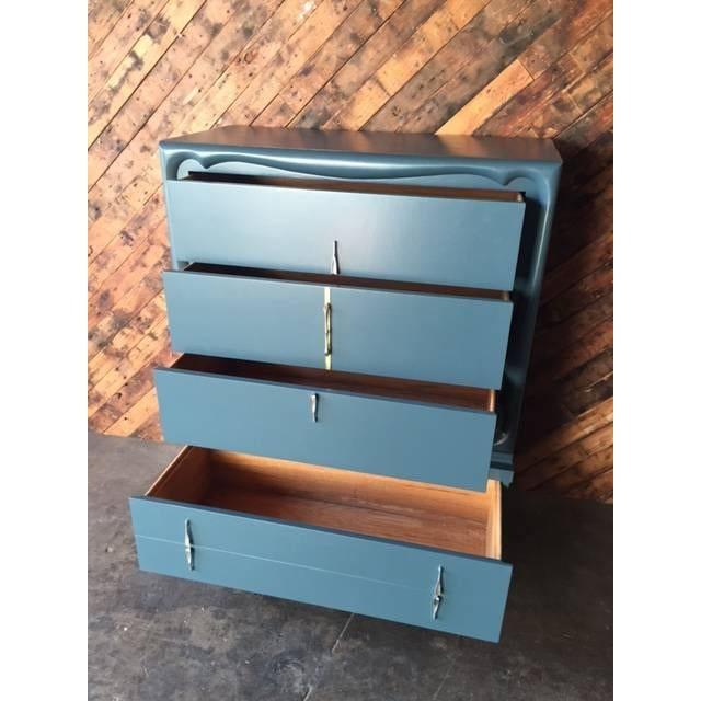 Image of Mid-Century Blue Lacquer Highboy Dresser