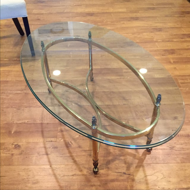 Vintage Brass Amp Glass Top Oval Cocktail Table Chairish