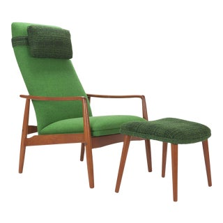 1950s Svend Langkilde for Sl Mobler Teak w/ Green Upholstered Danish Recliner Lounge Chair & Ottoman