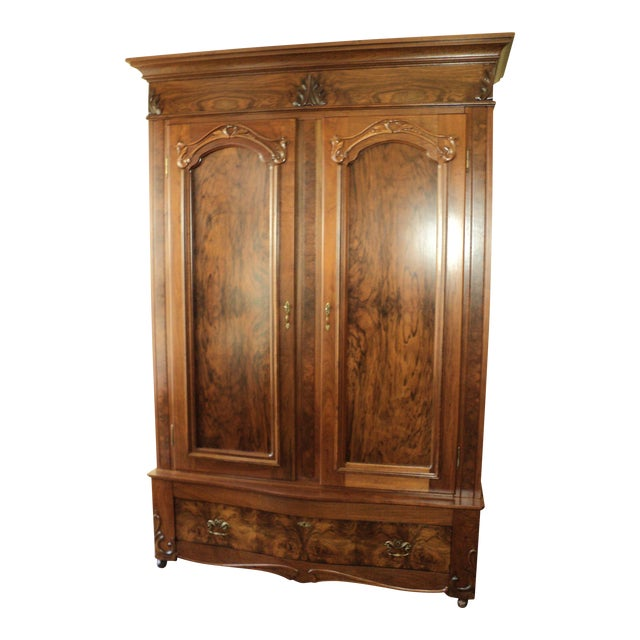 Antique Walnut 2 Door Wardrobe/Armoire - Image 1 of 8