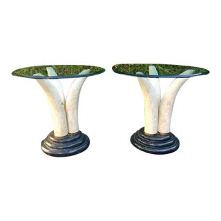 Maitland-Smith Faux Elephant Tusk End Tables - a Pair