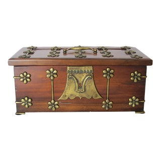 Large Wooden & Brass Box
