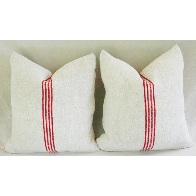 French Red Stripe Grain Sack Pillows - Pair - Image 3 of 9
