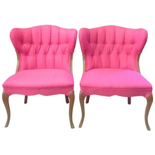 Hot Pink Regency-Style Chairs- A Pair
