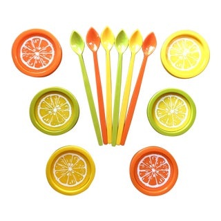 Vintage Iced Tea Spoons & Citrus Coasters - Set of 12