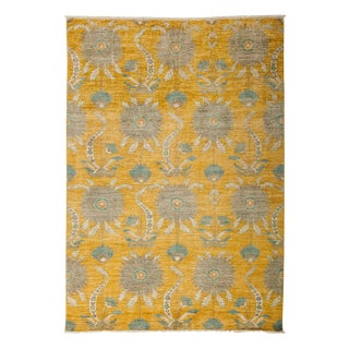 "Eclectic, Hand Knotted Yellow Abstract Wool Area Rug - 6' 2"" X 8' 10"""