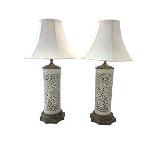 Blanc De Chine Brass Based Lamps - Pair