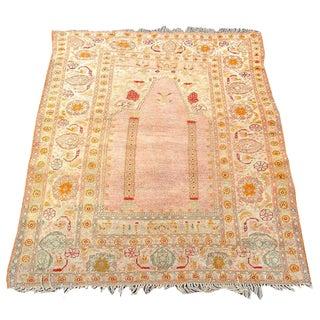 Elegant and Soft Oushak Prayer Scatter Rug