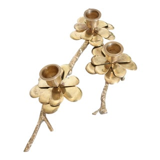 Mid Century Brass Flower Candle Twig Holder