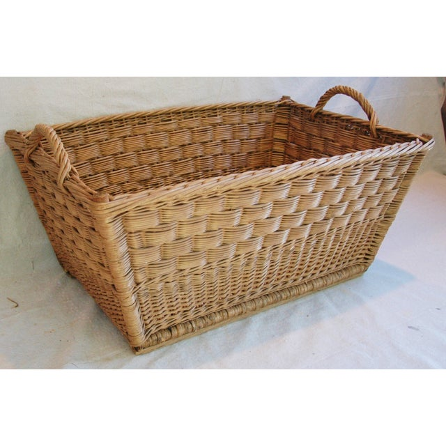 Vintage French Woven Willow Market Basket - Image 8 of 8