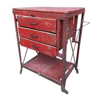 50's Original Distressed Tool or Bar Cart