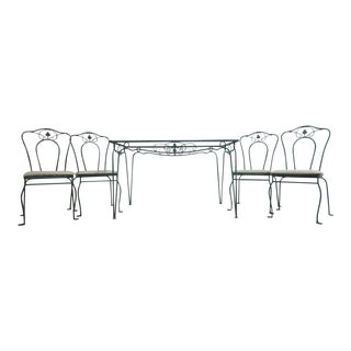 Vintage Regency Outdoor Patio 1 Table & 4 Chairs Set