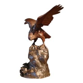 A Japanese Bronze Sculpture of an Osprey