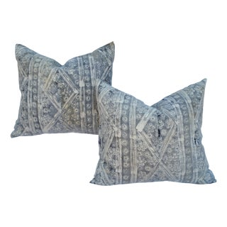 Soft Silver Gray Batik Pillows - A Pair