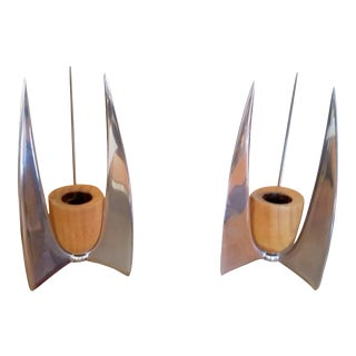 Scandinavian Modern Candle Holders - A Pair