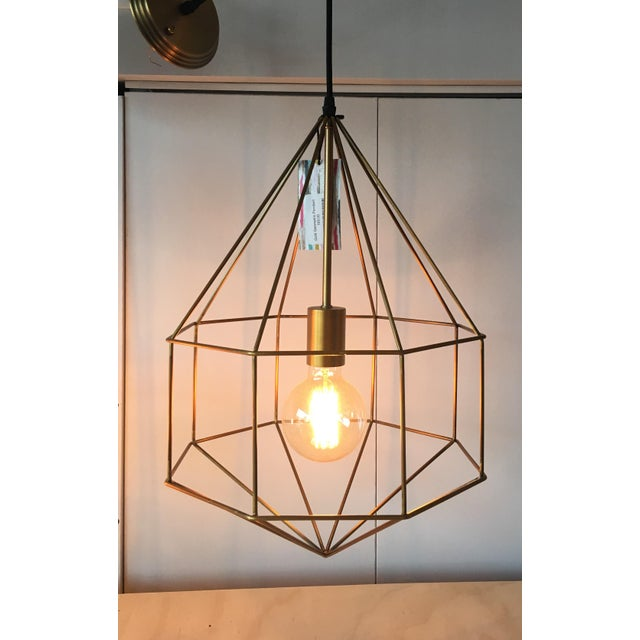 Gold Geometric Cage Pendant Light - Image 2 of 5