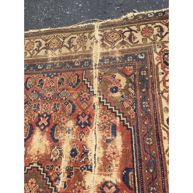 Antique Distressed Persian Rug / Wall Hanging - 4′4″ × 6′2″ - Image 7 of 10