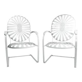Francois Carre Vintage Sunburst Cantilevered Chairs - A Pair