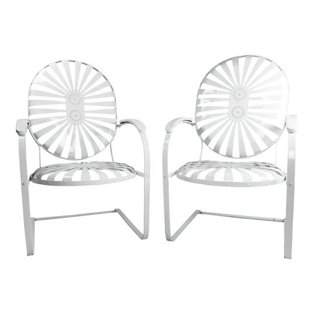 Francois Carre Vintage Sunburst Cantilevered Chairs - A Pair - Image 1 of 11