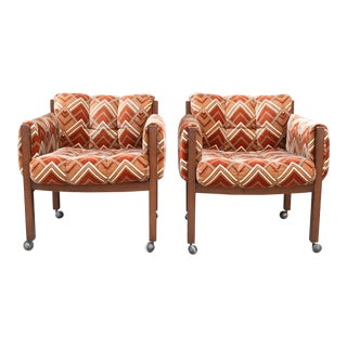 Deco Pattern Velvet Side Chairs - a Pair