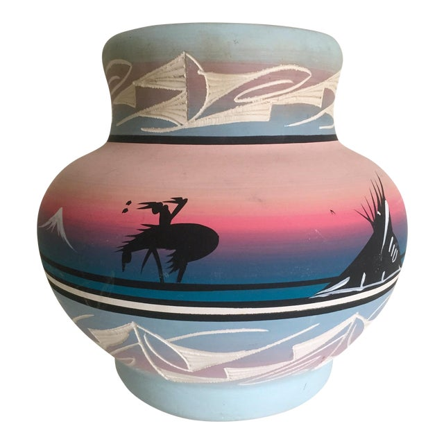 Vintage Signed Navajo Native American Pink Mesa Sunset Hand Painted Pottery Vase - Image 1 of 11