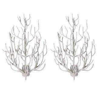 Huge Pair of Custom Studio Design Faux Coral Wall Sconces