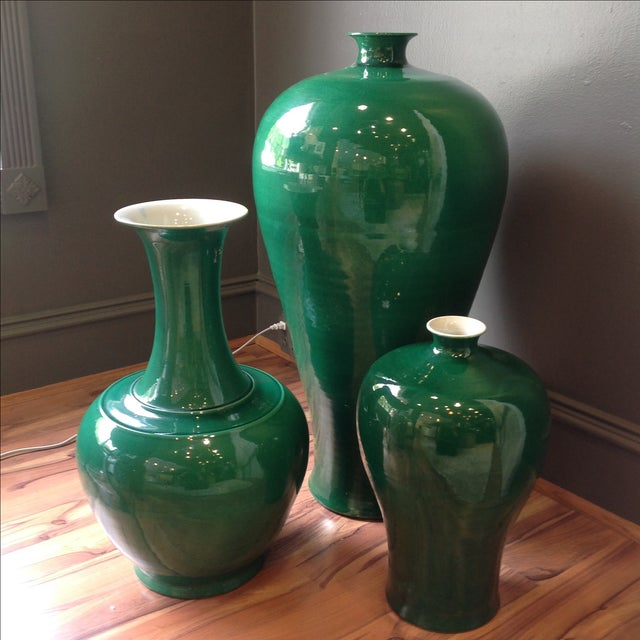 Emerald Green Asian Ceramic Vases - Set of 3 - Image 2 of 7