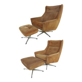 John Stuart Danish Mid-Century Suede Swivel Chairs & Ottomans - A Pair