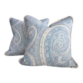 "Schumacher ""Pasha Paisley"" in Sky Pillows - a Pair"